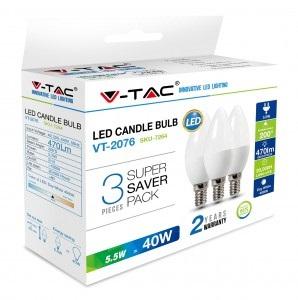 LED sijalica 5,5W E14 sveća HB 3kom V-tac