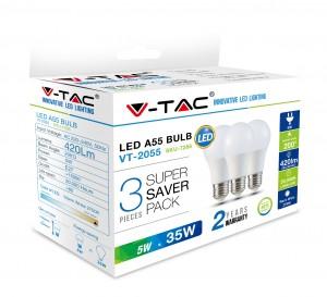 LED sijalica 5W E27 A55 plastika PB 3kom V-tac