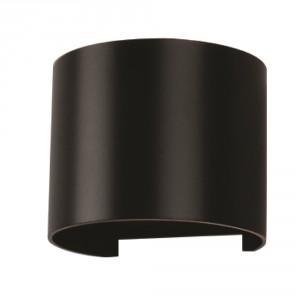 LED zidna sv.6W okrugla crna PB IP65 V-TAC